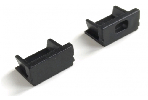 Avide Alu Profile Normal End Cap Black - 2pcs in a set