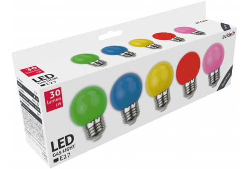 Decor LED bulbs G45 1W E27 B5 (Green/Blue/Yellow/Red/Pink)