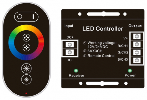 Avide LED Strip 12V 216W RGB 6 Keys RF Touch Remote and Controller