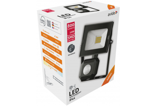 Avide LED Flood Light Slim SMD 10W  NW 4000K PIR
