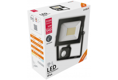Avide LED Flood Light Slim SMD 30W NW 4000K PIR