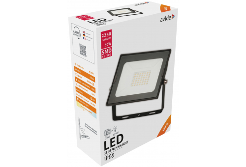 Avide LED Flood Light Slim SMD 30W NW 4000K