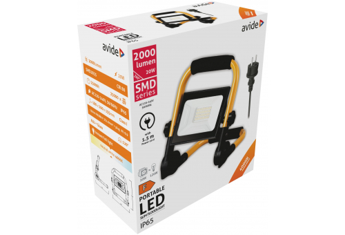 Avide LED Flood Light Slim SMD 20W with Stand 1.5m NW 4000K
