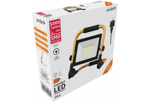 Avide LED Flood Light Slim SMD 50W with Stand 1.5m NW 4000K