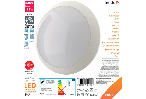 Avide (Neptun) IP66 Ceiling Light 15W NW 4000K+Microwave Sensor+Emergency Battery back up