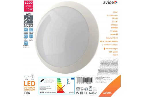 Avide (Neptun) IP66 Ceiling Light 15W NW 4000K+Microwave Sensor