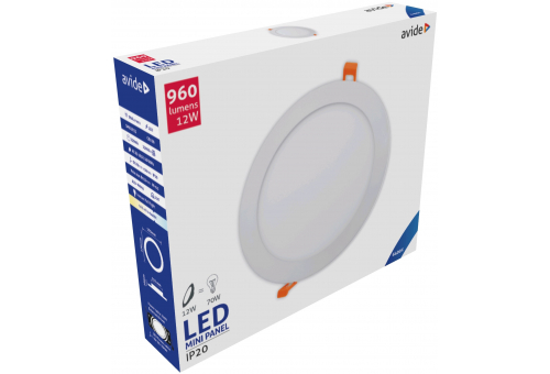 Avide LED Ceiling Lamp Recessed Panel Round ALU 12W CW 6400K
