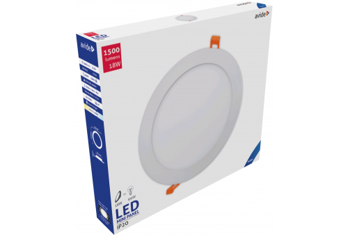 Avide LED Ceiling Lamp Recessed Panel Round ALU 18W CW 6400K