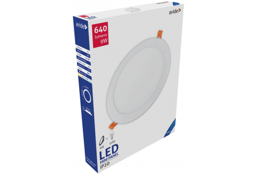 Avide LED Ceiling Lamp Recessed Panel Round ALU 9W CW 6400K