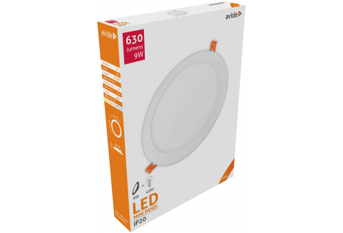 Avide LED Ceiling Lamp Recessed Panel Round ALU 9W NW 4000K