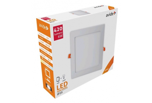 Avide LED Ceiling Lamp Recessed Panel Square ALU 6W NW 4000K