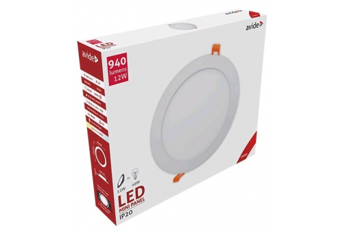 Avide LED Ceiling Lamp Recessed Panel Round ALU 12W WW 3000K