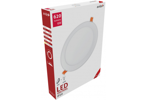 Avide LED Ceiling Lamp Recessed Panel Round ALU 9W WW 3000K