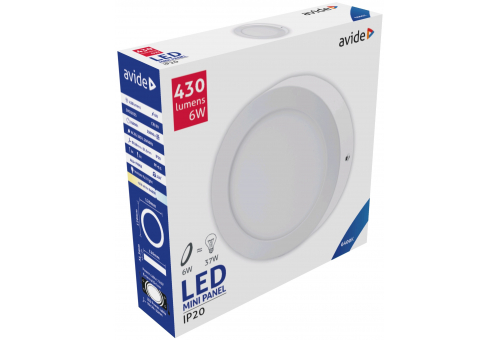Avide LED Ceiling Lamp Surface Mounted Round ALU 6W CW 6400K