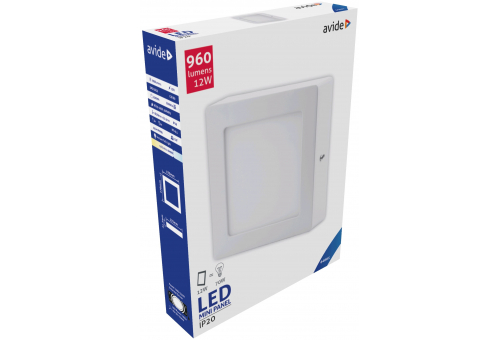 Avide LED Ceiling Lamp Surface Mounted Square ALU 12W CW 6400K