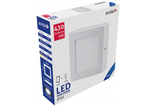 Avide LED Ceiling Lamp Surface Mounted Square ALU 6W CW 6400K