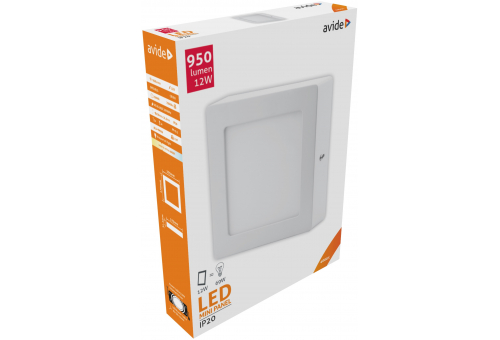 Avide LED Ceiling Lamp Surface Mounted Square ALU 12W NW 4000K