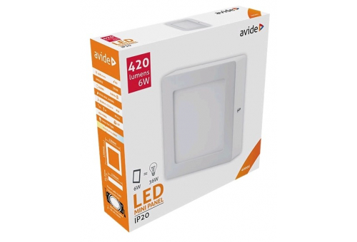 Avide LED Ceiling Lamp Surface Mounted Square ALU 6W NW 4000K