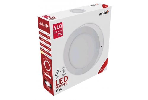 Avide LED Ceiling Lamp Surface Mounted Round ALU 6W WW 3000K