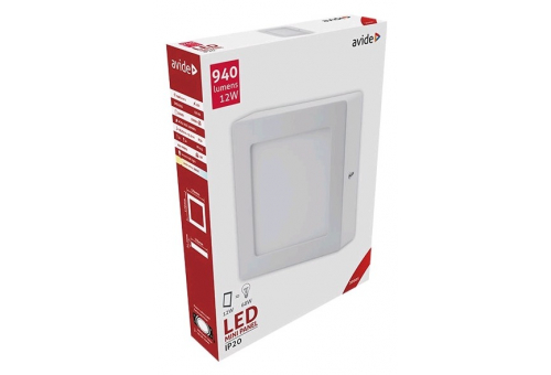 Avide LED Ceiling Lamp Surface Mounted Square ALU 12W WW 3000K