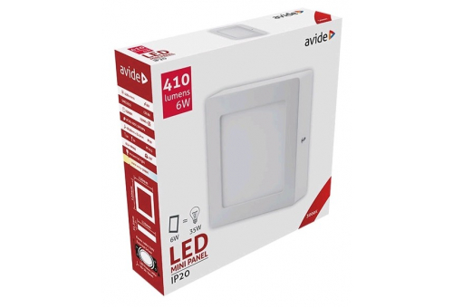 Avide LED Ceiling Lamp Surface Mounted Square ALU 6W WW 3000K